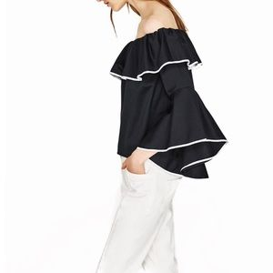 Zara Poplin Top With Frilled Sleeves 1 xs left